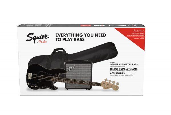 Squier Affinity Series P Bass PJ Pack Laurel Fingerboard Black Gig Bag Rumble
